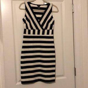 V-neck Navy and White Stripe Dress